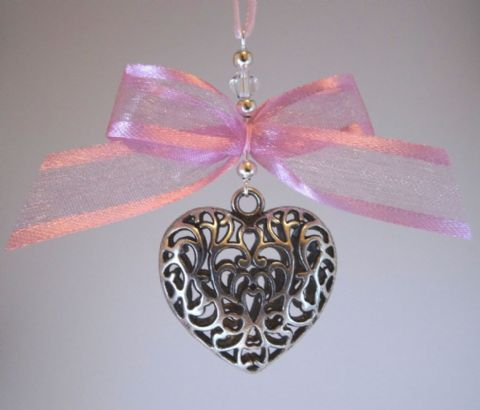 Silver Tone Tibetan Heart, Dusky Pink Satin Edge Chiffon Bow & Crystal - Xmas Tree Decoration
